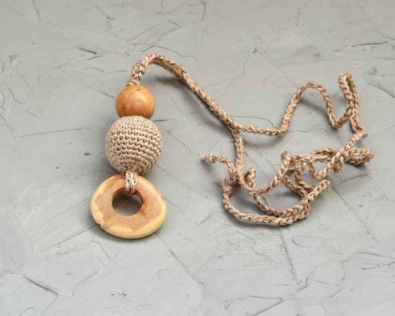 Wooden nursing pendant  Teething necklace for mom   Baby shower gift toy