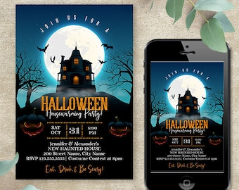 Digital Invite, Halloween Housewarming Party Invitation, instant download self-editable template, Edit with Corjl, A612