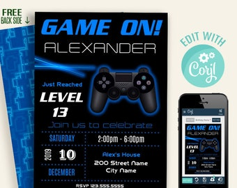 Game invitation, blue video game, birthday party, editable invite, Instant download, Edit with Corjl, A631