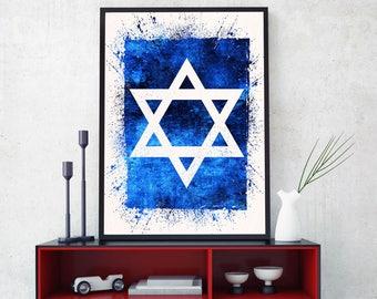 Star Of David Wall Art,  Star Of David Print, Star Of David Gift, Magen David Art, Jewish Wall Art, Israel Inspired Art (N510)