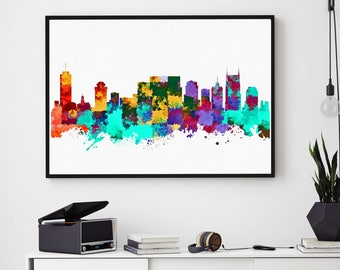 Nashville Skyline Art, Nashville Print, Watercolor Skyline, Nashville Home Art Decor, Tennessee Painting, Nursery Decor (N139)
