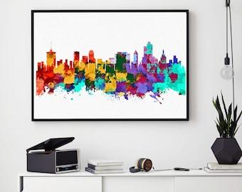 Tulsa Skyline Art, Tulsa Print, Tulsa Painting, Tulsa Poster, Colorful Tulsa, Oklahoma Wall Art (N1000)