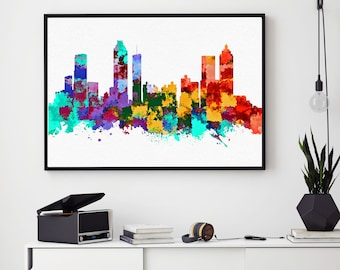 Atlanta Skyline Art, Atlanta Print, Atlanta Painting, Atlanta Poster, Watercolor Atlanta, Georgia Art, Atlanta Bedroom Decor (N170)