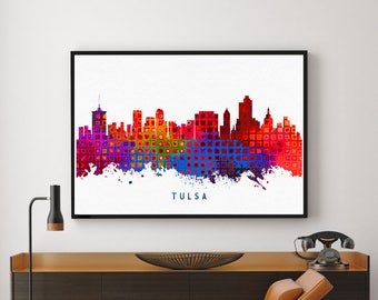 Tulsa Skyline Print, Tulsa Painting, Tulsa Art, Tulsa Wall Decor, Watercolor Tulsa, Oklahoma Painting (N1001)