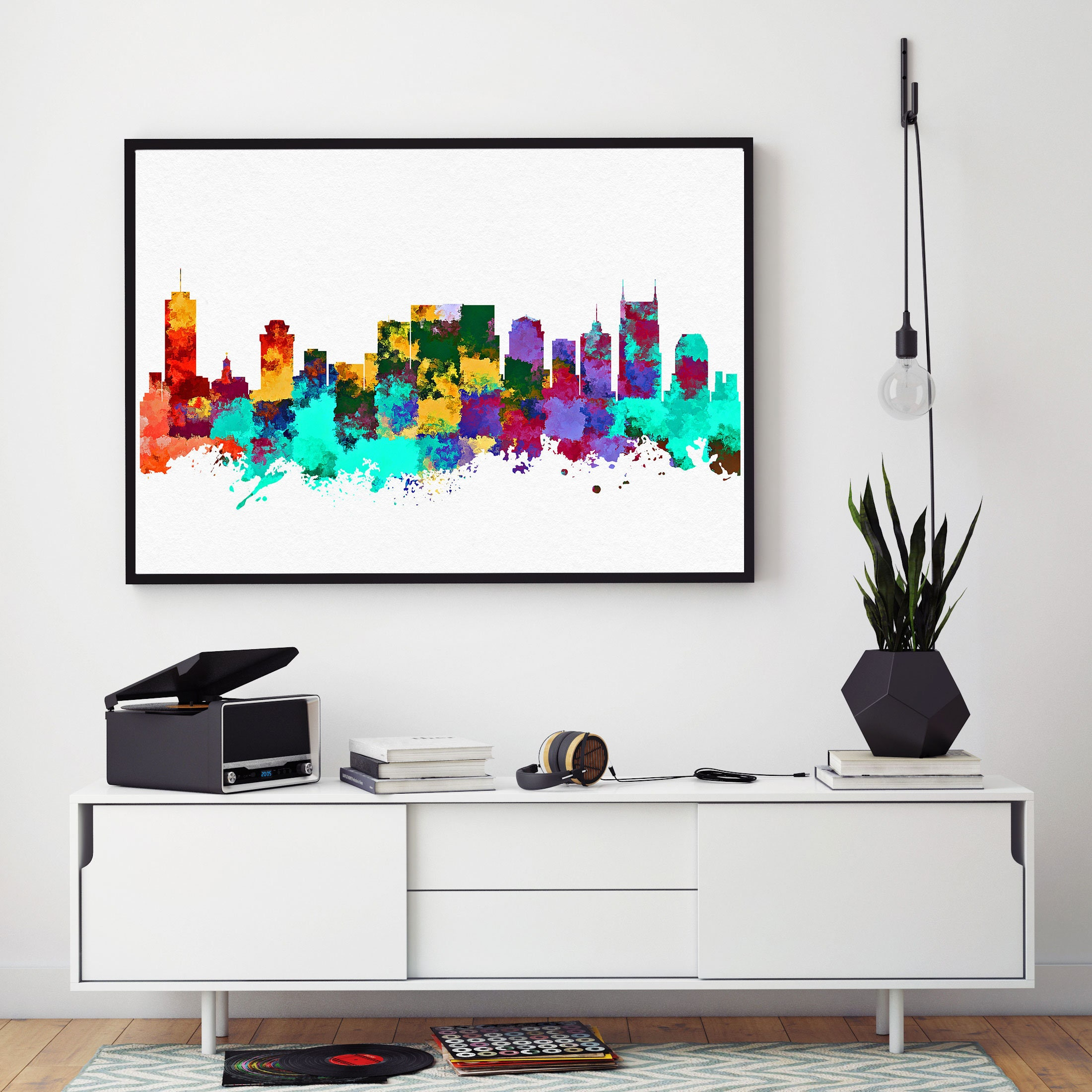 Nashville Skyline Art Nashville Print Watercolor Skyline