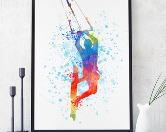 Kitesurfing Print, Kiteboarding Poster, Kitesurfing Art, Kiteboarding Wall Art, Sports Decor, Watercolour Sport Art, Water Sport