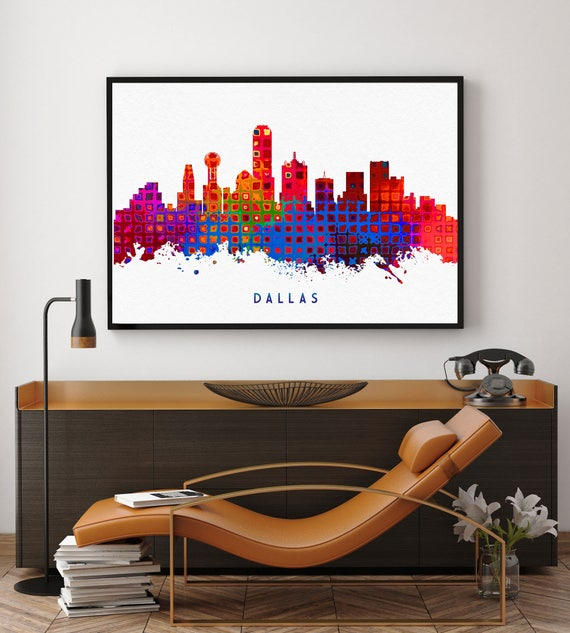 Dallas Skyline Art Dallas Skyline Painting Dallas Wall Art | Etsy