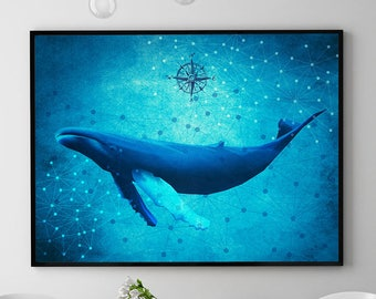 Humpback Whale Print, Marine Wall Art Decor, Whale Painting, Ocean Poster, Coastal Decor, Home Decorations, Kids Room (N414)