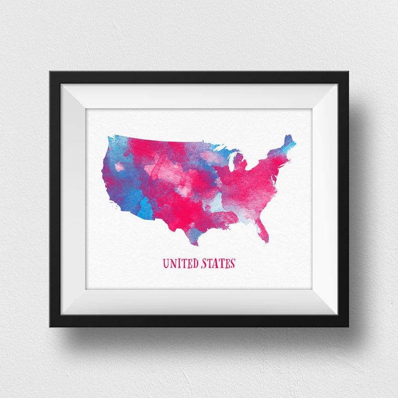 US Map Print, USA Map Print, United States Map Poster, Map Of USA Wall Art,  Nursery Decor, Watercolour Map, Kids Room Decor (706)