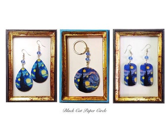 VINCENT VAN GOGH night starry starry Night earrings, necklace, ring and handmade keychain.