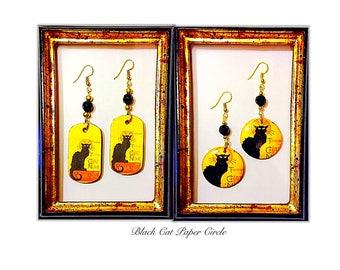 LE CHAT NOIR handmade wood earrings decoupage art to wear