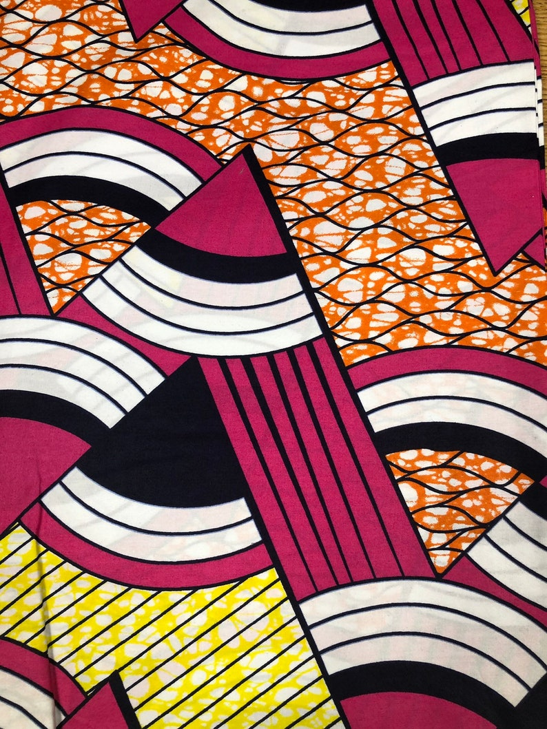Wholesale Pink Black White Orange Yellow Round Peaks Ankara African Print Fabric 6 Yards