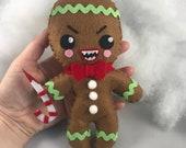 Killer Gingerbread man plush Christmas Horror felt doll