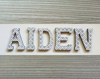 Custom Hand Painted Letters Wooden Wall Hanging Modern Design Geometric Grey Gift Baby Child Name Nursery Decor Boy - AIDEN