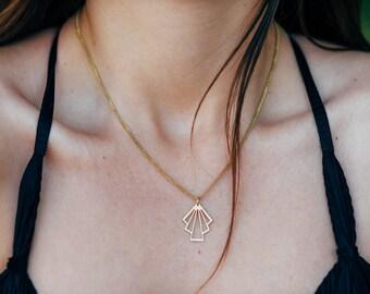 Geometric necklace, Minimalist Necklace, Boho Necklace, Brass necklace, Gold Triangle Necklace, Gold Necklace for women, Bohemian necklace