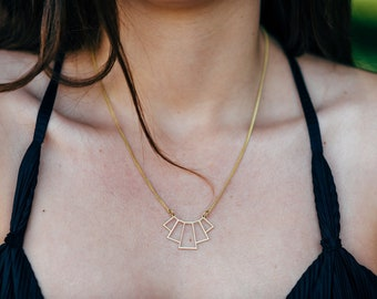Geometric necklace, Triangle necklace, Brass necklace, Boho necklace, Modern necklace, Chevron necklace, Bridesmaid Gift, Necklace for women
