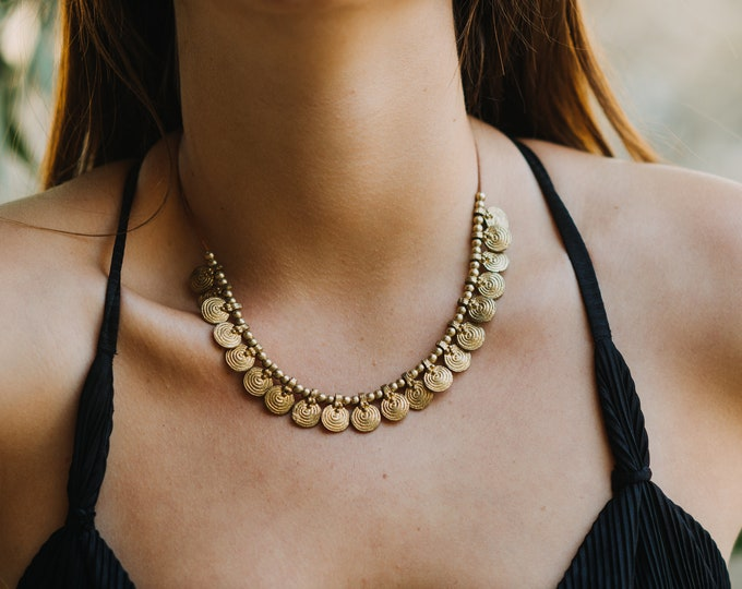 Gypsy jewelry Boho chic Hippie necklace Bohemian choker Boho choker Coins necklace Choker necklace Leather necklace with Brass Coins