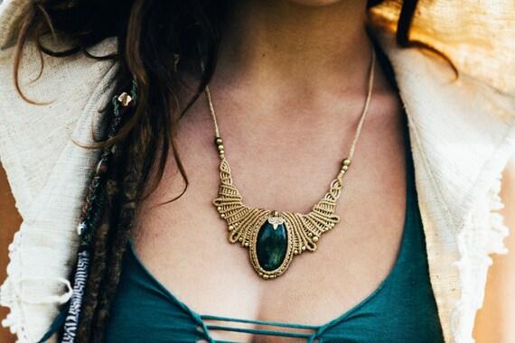Macrame necklace Hanukkah sale Moonstone macrame necklace Festival jewelry Long necklace TRIBAL bohemian primitive style wedding necklace