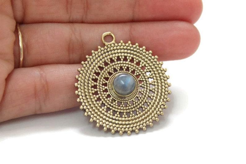 Jewelry supplies Mandala Geometry pendant Handmade Craft Supplies Labradorite pendant Gold pendant 35 mm Tribal pendant Brass pendant