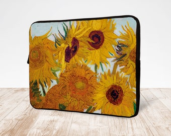 Starry Night and Sunflowers Oil Painting Laptop Sleeve Bag Evecase Neoprene Universal Sleeve Zipper Protective Cover Case 17 Inch for Notebook