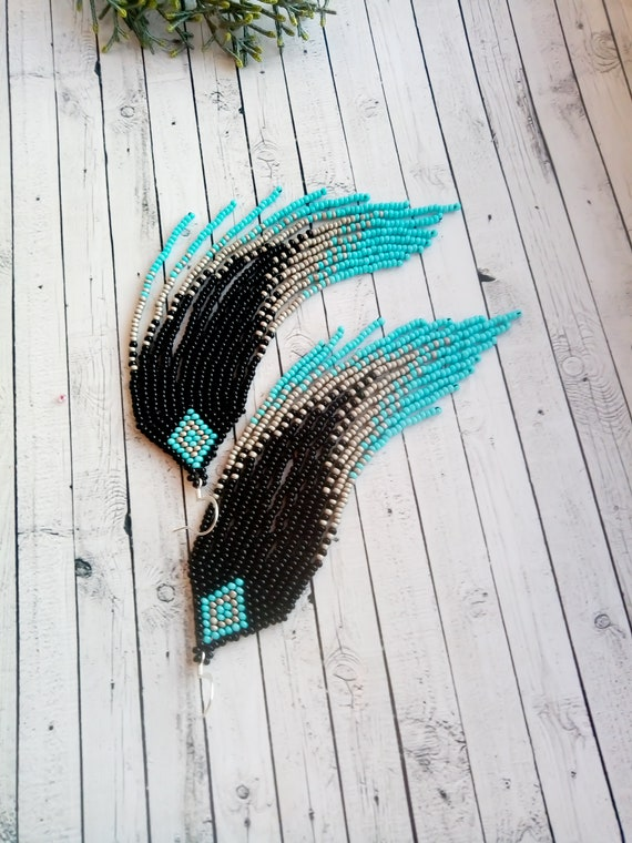 Beaded fringe earrings Turquoise Black Gray bead earrings  Long earrings Boho earrings Ombre beaded earrings Beadwork jewelry