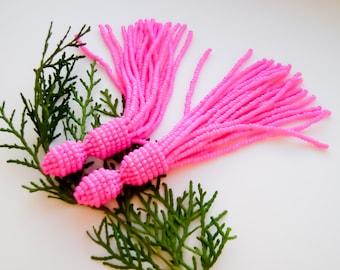 Beaded tassel earrings Fuchsia pink beaded earrings Long earrings tassel  earrings in the style of Oscar de larenta