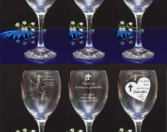 Personalised engraved Thanks for being my Godmother/Godfather Wine glasses. Choose your favorite design