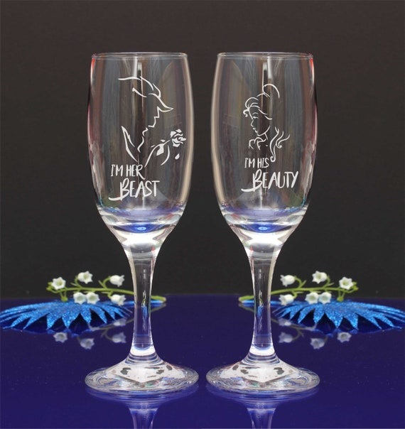 Personalised Engraved Beauty and the Beast Wedding Flutes/ I'm her Beast-I am his beauty. Set of 2//15