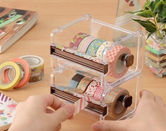 Super Bargain : 5 Washi Tape Plus Washi Tape Container Box with 2 style Cutter - perfect  for traveler's, weekly planner, erin condren,