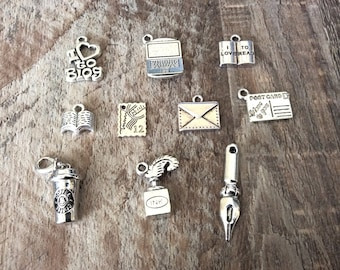 20 Antique Silver Postcard Charms I Love You Nickel Free  Lead Free Tourism