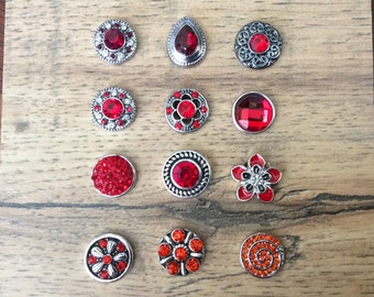 7951e964a Red Snap Charms, Red Orange Snaps for 12mm PETITE/MINI Snap Jewelry, Fits  12mm Ginger Snaps, Noosa, Magnolia & Vine, PS7
