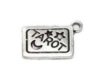 Tarot Card Charm .925 Sterling Silver Clairvoyant Fortune Teller Mystic