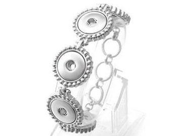 Lariat Snap Bracelet Rhinestone Border Fits 18-20mm Ginger Snaps Adjustable other snap jewelry B21-V Magnolia /& Vine Noosa Silvertone