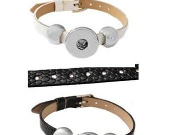 SALE! Snap Bracelet -  PU Leather Belt Band Snap Bracelet, White or Black, Silvertone.  Fits 18-20mm Gingersnaps, Noosa, Magnolia & Vine, B3