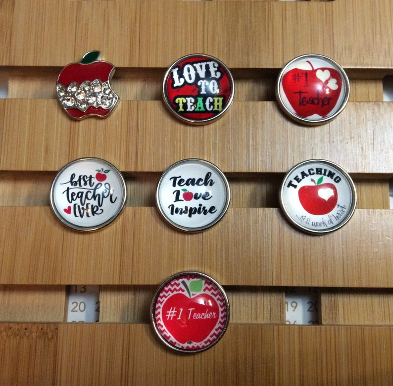 Snap Jewelry Teacher Snap Charms Best Teacher Magnolia /& Vine Red  Apple Snap Fits 18mm Ginger Snaps Love To Teach Snap SC37