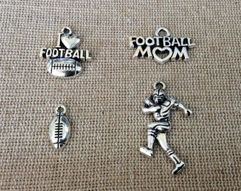 Football Charms, Sports Charms, Silvertone, For Bracelet, Necklace, Earrings, Zipper Pull, Key Chain, Brooches, Bookmarks, Etc, #4