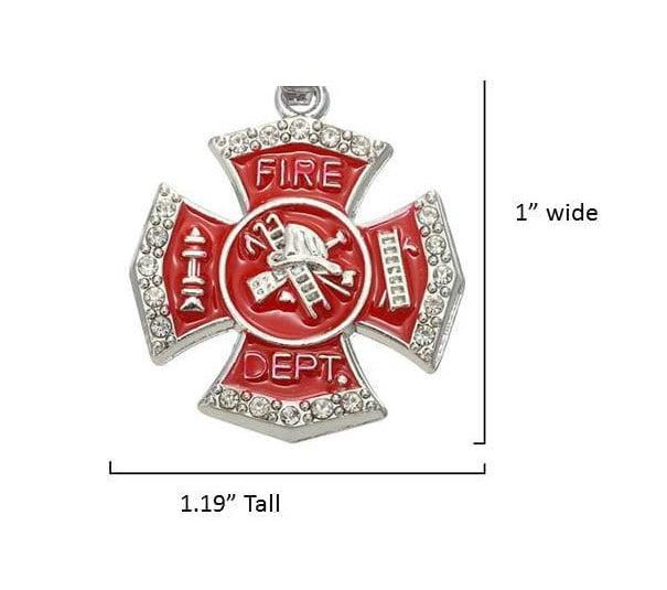 Fire Department Maltese Cross Necklace: Firefighter Charm, Maltese Cross, Fireman, Fire Department