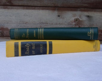 Pair of Vintage Romances The Neighbors Jane Abbott Ready or Not Mary Stolz Colorful Books Yellow Book Green book 1952 Peoples Book Club Love