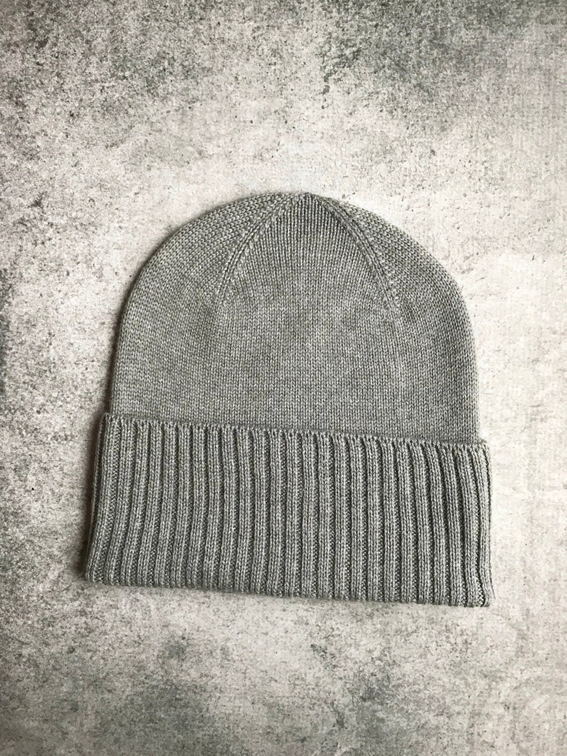 9c5453c0c Classic Beanie, Fold Over Brim Hat, Gray Skull Cap, Baggy Beanie, Cuffed  Hat, Winter Wool Hat, Men's Merino Hat, Knitted Hat Man, Unisex Hat