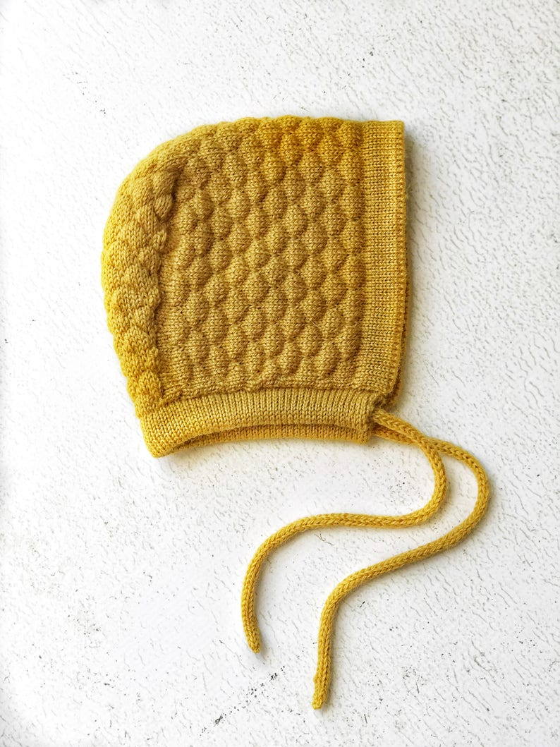 Baby Knitted Bonnet Newborn Wool Hat Yellow Mustard Merino  1544bae6cd5