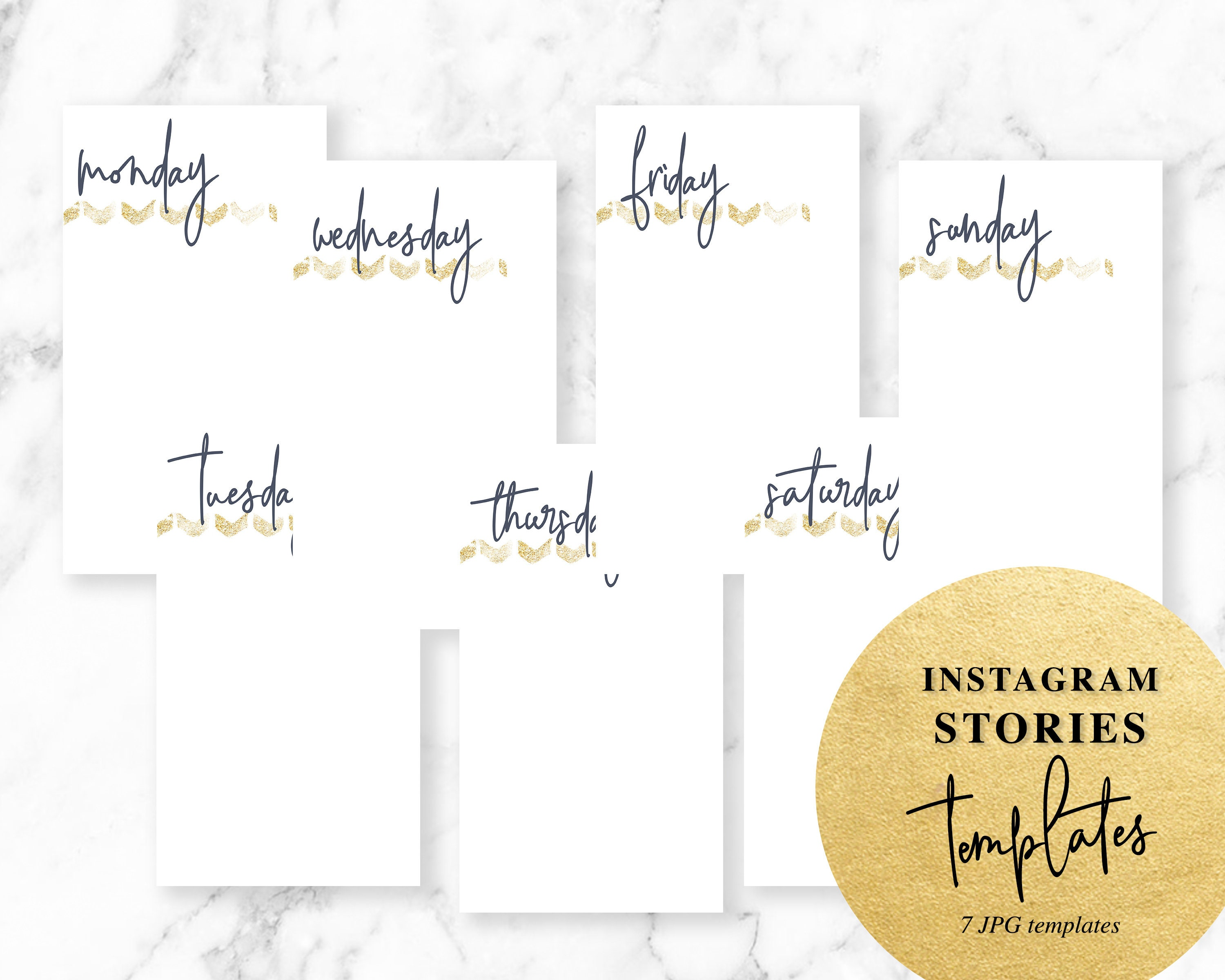 Days Of The Week Stories Template Gold Social Media Etsy