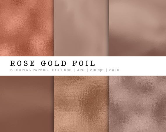 Rose Foil Digital Papers Rose Gold Foil Design Digital Etsy