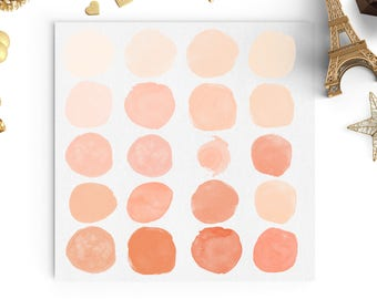 Peach Watercolor Circles | Glitter Strokes Freebies | Watercolor Clip Art | High Resolution | 20 PNG | Graphic Design | Branding Elements