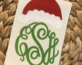 Monogrammed Santa Hat Vinyl Decal