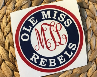 Ole Miss Rebels Monogrammed Vinyl Decal
