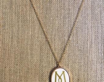 White enamel monogrammed pendant necklace