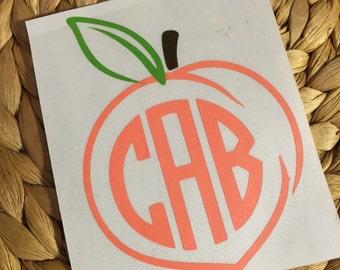 Monogrammed Georgia Peach Vinyl Decal