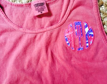 Comfort Colors Lilly Pulitzer Monogrammed Tank Top