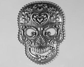 Sugar Skull Jewelry Sugar Skull Necklace Sugar Skull Pendant Halloween Day of the Dead Dia de los Muertos Calavera Silver Skull Heart