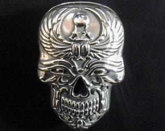 Sugar Skull Necklace Sugar Skull Jewelry Sugar Skull Pendant Halloween Day of the Dead Dia de los Muertos Calavera Silver Skull Egypt Scarab